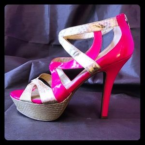Hot Pink Gold Snakeskin Strappy Heels Guess 10